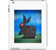 robotic death bunny painted on a used baking sheet iPad Case/Skin