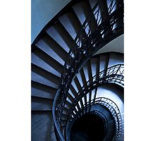 Half spiral stairs in blue Photographic Print