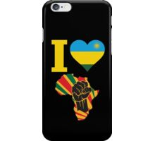 I Love Africa Map Black Power Rwanda Flag T-Shirt iPhone Case/Skin