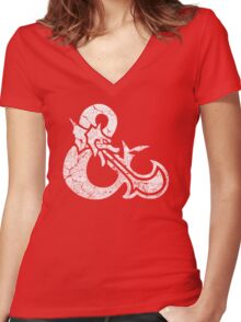 Dungeons&Dragons white ampersend Women's Fitted V-Neck T-Shirt