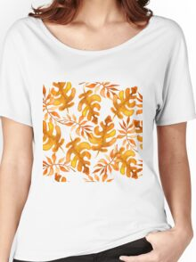 Hello autumn. Watercolor autumn leaves semless pattern Women's Relaxed Fit T-Shirt