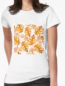 Hello autumn. Watercolor autumn leaves semless pattern Womens Fitted T-Shirt