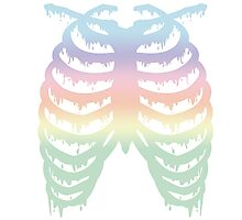 Pastel Rainbow Melty Ribcage Photographic Print