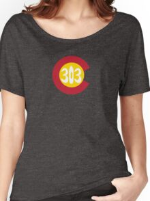 Hand Drawn Colorado Flag 303 Area Code Women's Relaxed Fit T-Shirt