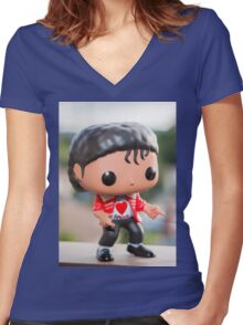 MJ Red Jacket Women's Fitted V-Neck T-Shirt
