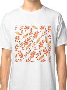 Hello autumn. Watercolor autumn leaves semless pattern Classic T-Shirt