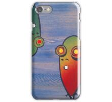 pod people on a stained wooden chair seat iPhone Case/Skin