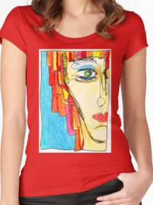 Demi-Face in Red Women's Fitted Scoop T-Shirt