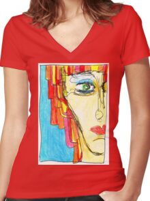 Demi-Face in Red Women's Fitted V-Neck T-Shirt