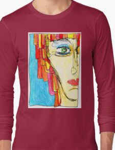 Demi-Face in Red Long Sleeve T-Shirt
