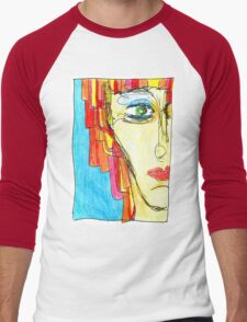 Demi-Face in Red Men's Baseball ¾ T-Shirt