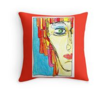 Demi-Face in Red Throw Pillow
