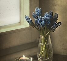 Still life with blue flowers and candles by JBlaminsky