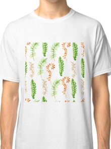 Hello autumn. Watercolor autumn leaves semless pattern. Classic T-Shirt