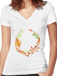Hello autumn. Watercolor autumn leaves wreath Women's Fitted V-Neck T-Shirt