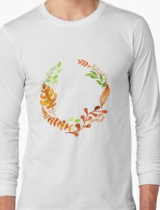 Hello autumn. Watercolor autumn leaves wreath Long Sleeve T-Shirt