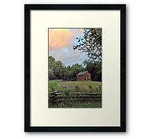Sunset Clouds and Log Cabin Framed Print