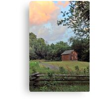 Sunset Clouds and Log Cabin Canvas Print