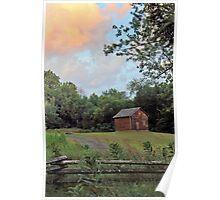 Sunset Clouds and Log Cabin Poster