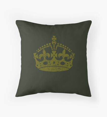 Distressed Grunge Keep Calm Crown Throw Pillow