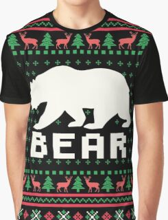 Bear Ugly Christmas Sweater Graphic T-Shirt