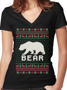 Bear Ugly Christmas Sweater Women's Fitted V-Neck T-Shirt
