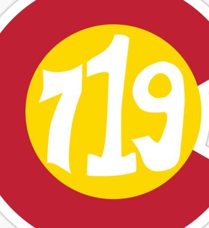 Hand Drawn Colorado Flag 719 Area Code Sticker