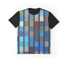Abstraction #096 Blue blocks and black bars Graphic T-Shirt