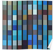 Abstraction #096 Blue blocks and black bars Poster