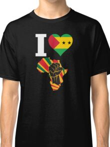 I Love Africa Map Black Power Sao Tome Flag T-Shirt Classic T-Shirt