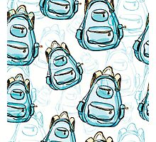 Hand drawn blue backpack seamless pattern. Photographic Print