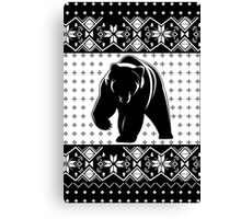 Grizzly Bear Ugly Christmas Canvas Print