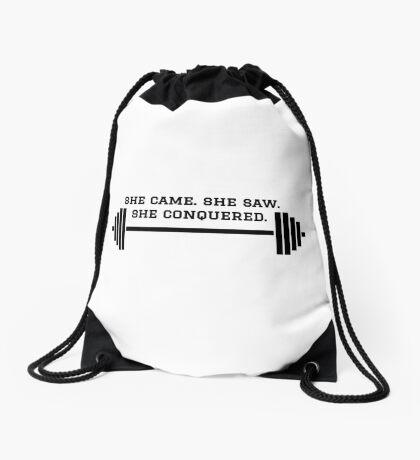 LIFTING - SHE CAME. SHE SAW. SHE CONQUERED. Drawstring Bag