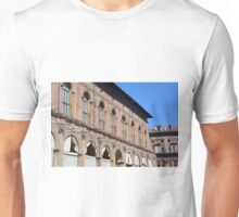 Classical buildings from Bologna with arches and decorations. Unisex T-Shirt
