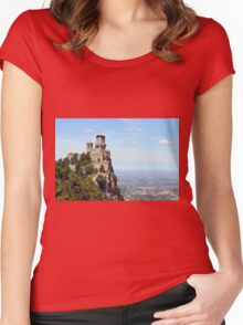 San Marino tower, landscape view. Women's Fitted Scoop T-Shirt