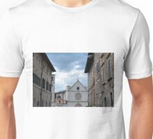 Buildings from Assisi leading to a white church. Unisex T-Shirt