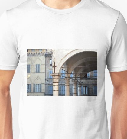 Arches and columns creating a portico in Siena. Unisex T-Shirt