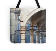 Arches and columns creating a portico in Siena. Tote Bag