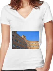Building red brick facade from Piazza del Campo, Siena. Women's Fitted V-Neck T-Shirt