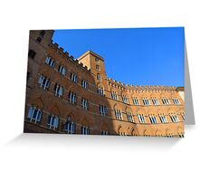 Building red brick facade from Piazza del Campo, Siena. Greeting Card