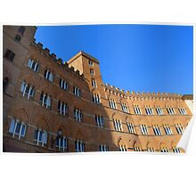 Building red brick facade from Piazza del Campo, Siena. Poster