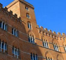 Building red brick facade from Piazza del Campo, Siena. Sticker