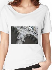 Detail of arcade from Genova with white and black marble stripes. Women's Relaxed Fit T-Shirt