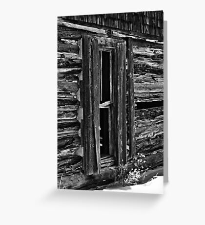 Window On Another Time In Black And White Greeting Card