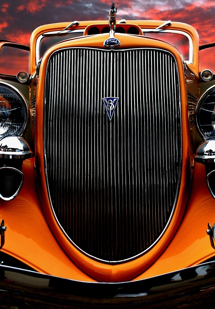 Orange V8 Car and Sunset by Mark Malinowski