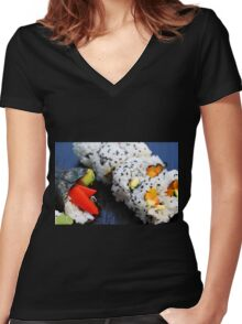Sushi Women's Fitted V-Neck T-Shirt
