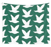 White Birds on Green Wall Tapestry