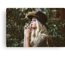 charming blonde woman in nature  Canvas Print