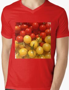 Red and Gold Cherry Tomatoes Mens V-Neck T-Shirt