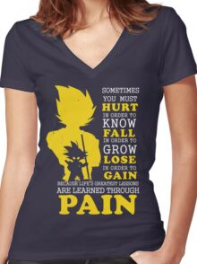 Must Hurt- Know Fall to grow Lose to Gain- Learn through Pain Women's Fitted V-Neck T-Shirt